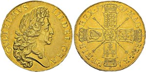 William III, 1694-1702. 5 Guineas ...